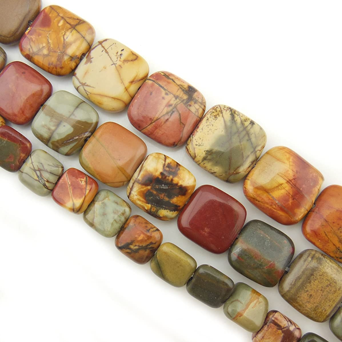 COIRIS 15'' Strand 12mm Natural Picasso Jasper Gemstone Square Shape Loose Beads for Jewelry Making (ZS1098-12)