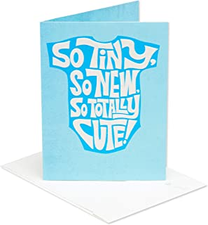American Greetings So Tiny So Cute New Baby Boy Congratulations Card with Flocking
