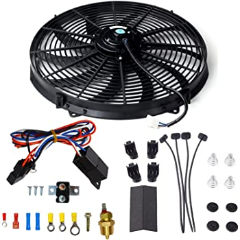 [DIAGRAM_0HG]  Amazon.com: 16 Inch Electric Radiator Cooling Fan Mounting Kit & 175-185  Degree Thermostat Relay Switch Kit Black: Kitchen & Dining | Vintage Electric Radiator Fan Wiring Diagram Sbc |  | Amazon.com