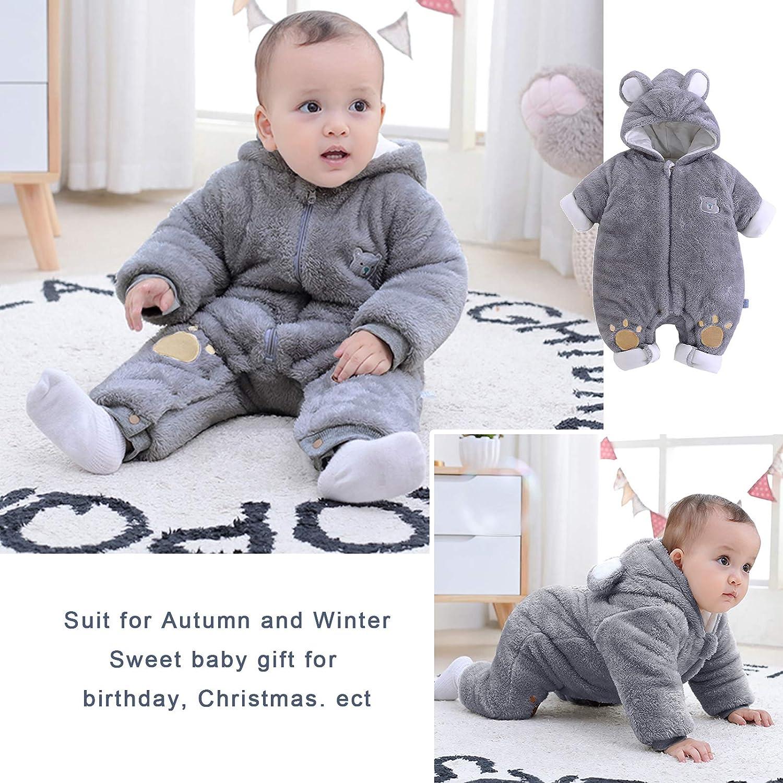Yuwao Baby Fleece Rompers Winter Snowsuit Boys Girls Warm Onesies Hooded Outfits Jumpsuit Long Sleeve Bear Ears Newborn Gift 0-12 Months