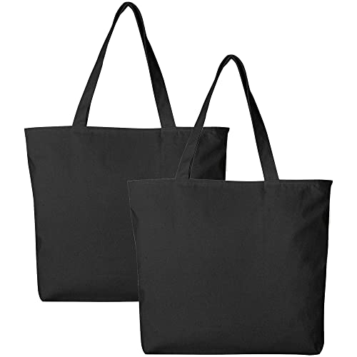 60 pieces Large Size Zippered Canvas Tote Bags