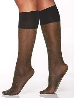 Berkshire Women's Comfy Cuff Stay-Put Diamond Lurex Trouser Knee High Dress Socks