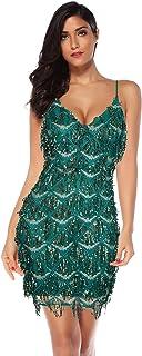 فستان رقص للحفلات مستوحى من فستان الرقص مزين بشراشيب من العشرينيات من meilun