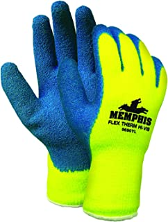 Memphis Glove 9690YL Flex-Therm Acrylic Shell Men's Gloves with Latex Dipped Palm and Fingertips, Blue/Yellow, Large, 1-Pair