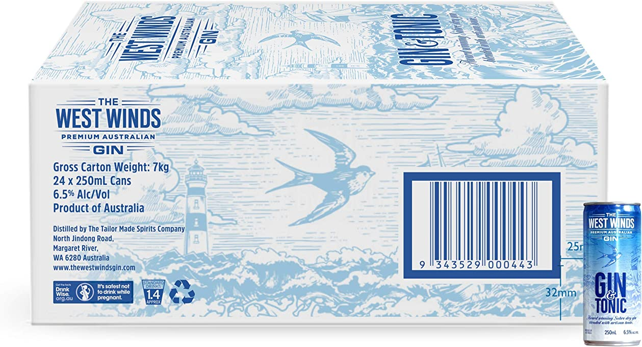 West Winds Gin and Tonic 24 Cans, 6.00 l (Pack of 24)