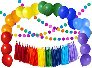 56pcs Value Rainbow Colorful Carnival Party Decoration Set, 20pcs Balloons, 35pc Tassels, 4m Dot Garland, Fiesta, Taco, Circus, 1st, Kids, Mexican Party, Baby Shower - by TOKYO SATURDAY