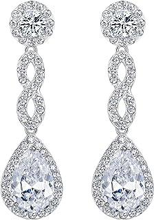 EVER FAITH Women's Cubic Zirconia 8 Shape Infinity Bridal Pierced Dangle Earrings Silver-Tone