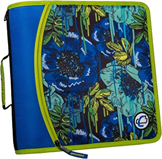 Case-It T641P Zipper Binder, 3-Inch Capacity, with 5-Tab Expanding File, Zip Mesh Pocket, Shoulder Strap, Graffiti Floral ...