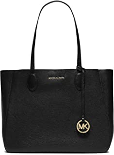 Michael Kors Womens Large Mae Soft Leather Carryall Leather Shoulder Tote - Black/Pale Gold