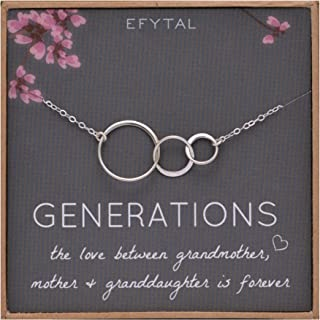 EFYTAL Generations Necklace for Grandma Gifts - Sterling Silver Mom Granddaughte