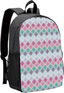 Geometric Durable Backpack,Abstract Horizontal Diamond Forms and Featured Little Dots Soft Colored Pattern Decorative for School Travel,12″L x 5″W x 17″H