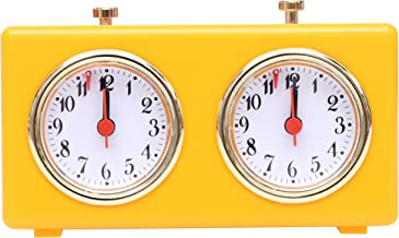 BETTERLINE Retro Shiny Yellow Analog Chess Clock Timer - Wind-Up Mechanical Chess Clock with Large Easy-to-Read Dials, No Battery Needed - By Better Line