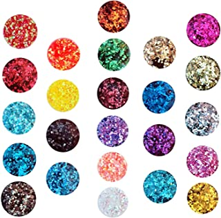 24 Boxes Holographic Chunky Glitter Sequins, 24 Colors Eye Nail Festival Chunky Glitter Nail Sequins Iridescent Flakes, Cosmetic Paillette Ultra-thin Tips,for Body Face Hair Make Up Nail Art Glitter