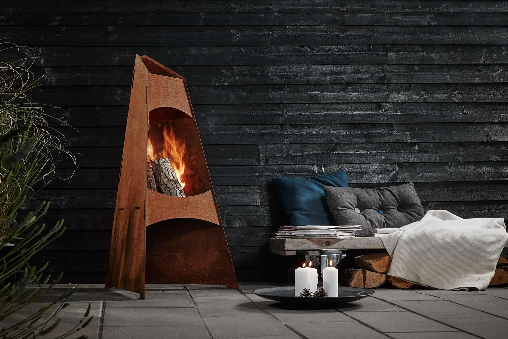 Chimenea de jardín | acero corten | brasero | calentador de Patio jardín chimenea | Redwood Denmark: Amazon.es: Jardín