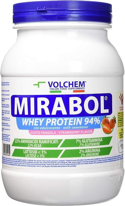 Whey protein 94% 750 grammi, fragola volchem mirabol - aggiunta -arginina,glutammina e amminoacidi ramificati IAF00072947