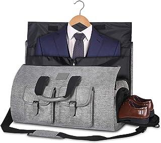 Carry-on Garment Bag Large Duffel Bag Suit Travel Bag Weekend Bag Flight Bag with Shoe Pouch for Men Women (Dark Grey2), Gray (Gray) - 234296