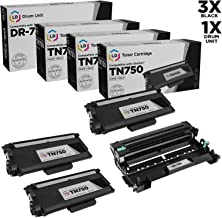 LD © Set of 4 Replacements Includes: 3 TN750 High Yield Black Toner Cartridges, and 1 DR720 Drum Unit compatible with Brother Compatible TN750/DR720 DCP 8100DN, 8150DN, 8155DN, HL 5440D, 5450DN, 5470DW, 5470DWT, 6180DW, 6180DWT, MFC 8510DN, 8710DW, 8810DW, 8910DW, 8950DW, and 8950DWT Printers