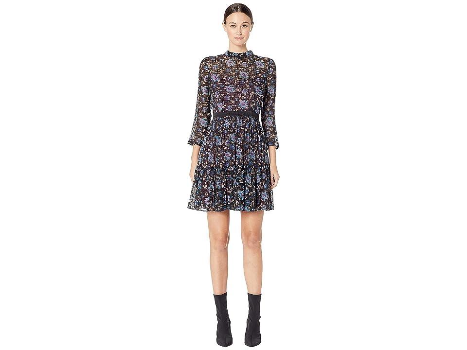 Rebecca Taylor Long Sleeve Solstice Clip Dress (Black Combo) Women