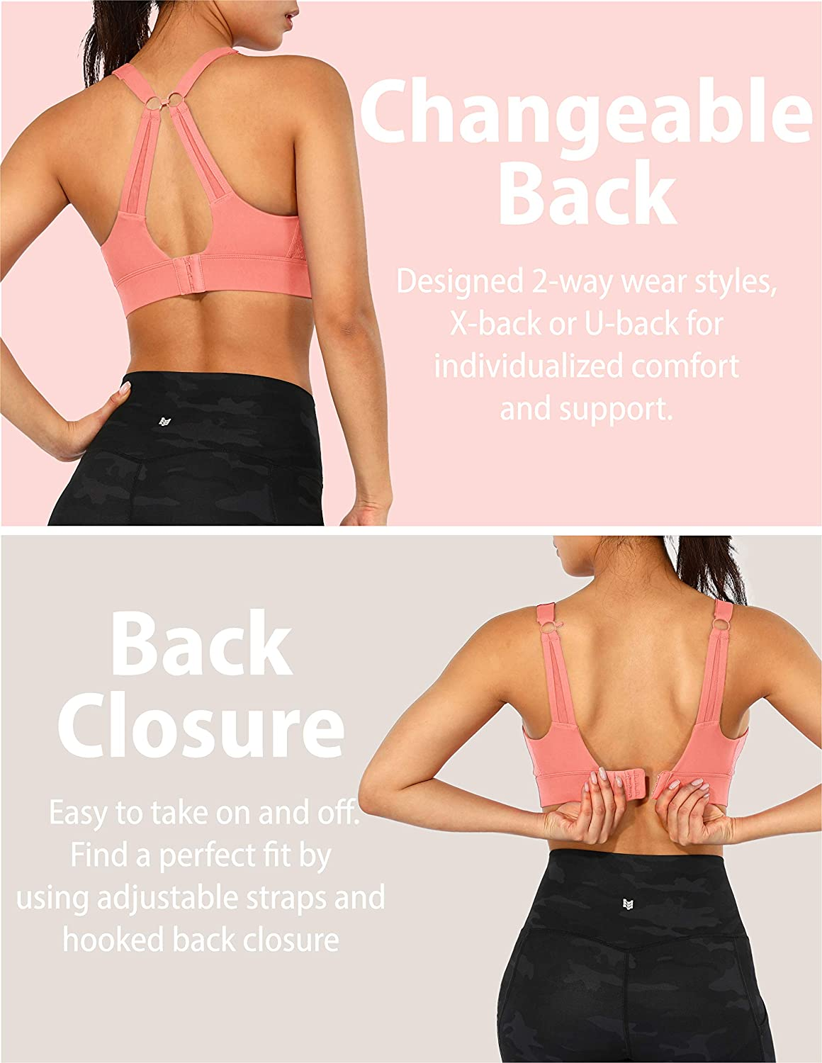 ODODOS Womens Changeable Back Padded Sports Bra with Adjustable Strap Workout Gym Yoga Bra Tops