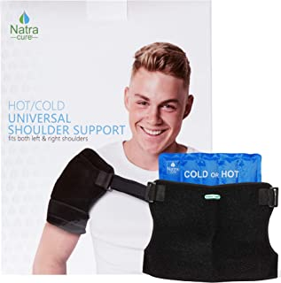NatraCure Hot & Cold Universal Shoulder Brace Support - Reusable Cold Therapy Ice Pack Wrap Sling for Rotator Cuff, Dislocated Shoulder, and Labrum Tear Pain Relief - (730-RET)