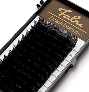 Fabu Individual Classic Eyelash Extensions, Thickness/Diameter 0.12, C Curl, ONE LENGTH PER TRAY (18mm)
