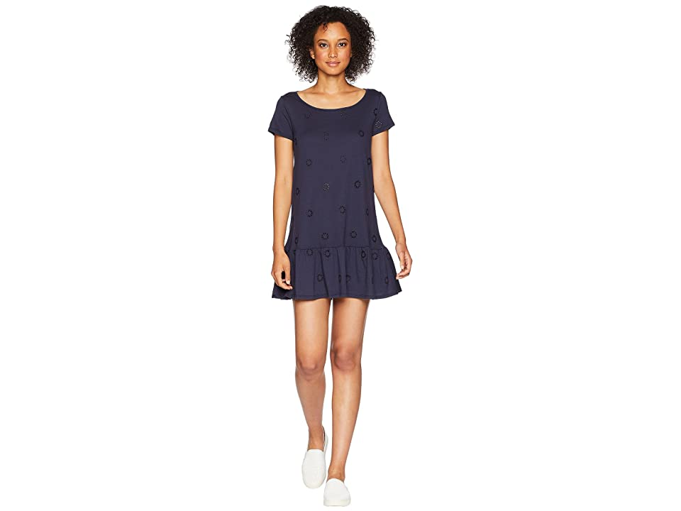 Three Dots Eyelet Jersey Dress (Night Iris) Women