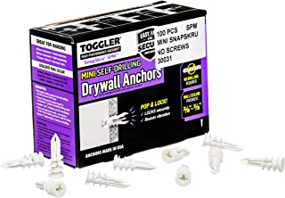 Toggler SP Mini 30031 Plasterboard Fixings for Panel Thickness 9.5-15 mm Self-Tapping Dowel Screw Diameter 3.5-4 mm Pack o...