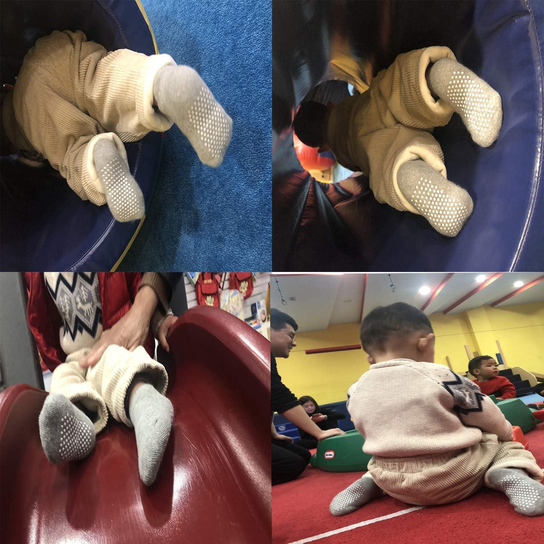 Lo Shokim Little Kids Anti-Slip//Non-Skid Cartoon Crew Socks Grips for Baby Boys Infants and Toddlers