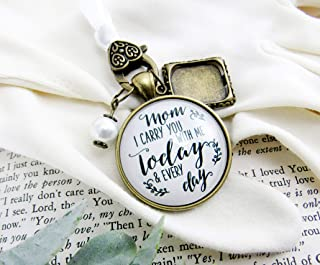 Bridal Bouquet Photo Charm Mom I Carry You With Me Wedding White Pendant Mother Memorial Remembrance Jewelry