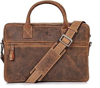 DONBOLSO Notebooktasche Marseille 13,3 Zoll Leder I Umhängetasche für Laptop I Aktentasche für Notebook I Tasche für Damen und Herren Braun