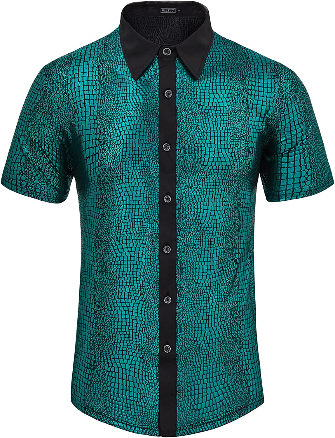 Indefinitely WULFUL Men's Rare Disco Shirt Sequins Down Button Shirts Short Sleeve