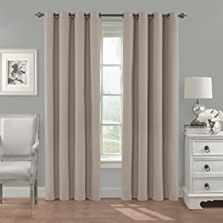 """Eclipse Nadya Solid Thermal Insulated Single Panel Grommet Top Darkening Curtains for Living Room, 52"""" x 95"""", Linen"""