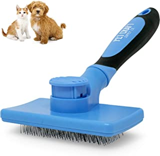 Pet Craft Supply Self Cleaning Calming Slicker Pet Grooming Brush for Dogs and Cats with Short to Long Hair, Removes Mats,...