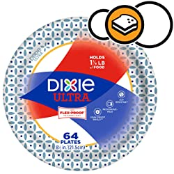 """Dixie Ultra Paper Plates, 64 Count, Lunch or Light Dinner Size, 8 1/2"""" Inch Printed Disposable Plate"""