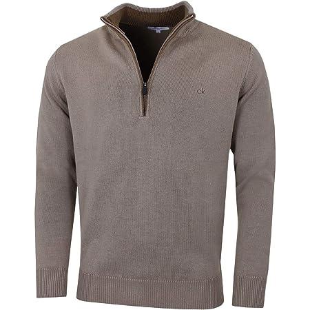 Calvin Klein Mens 2021 Chunky Knit Cotton 1/2 Zip CK Golf Sweater