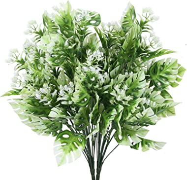 DWANCE 2 PCS Plante de Monstera Tropical Artificielles Fausse Monstera Blanche Verte Palmier Faux Plantes Interieur Exterieur