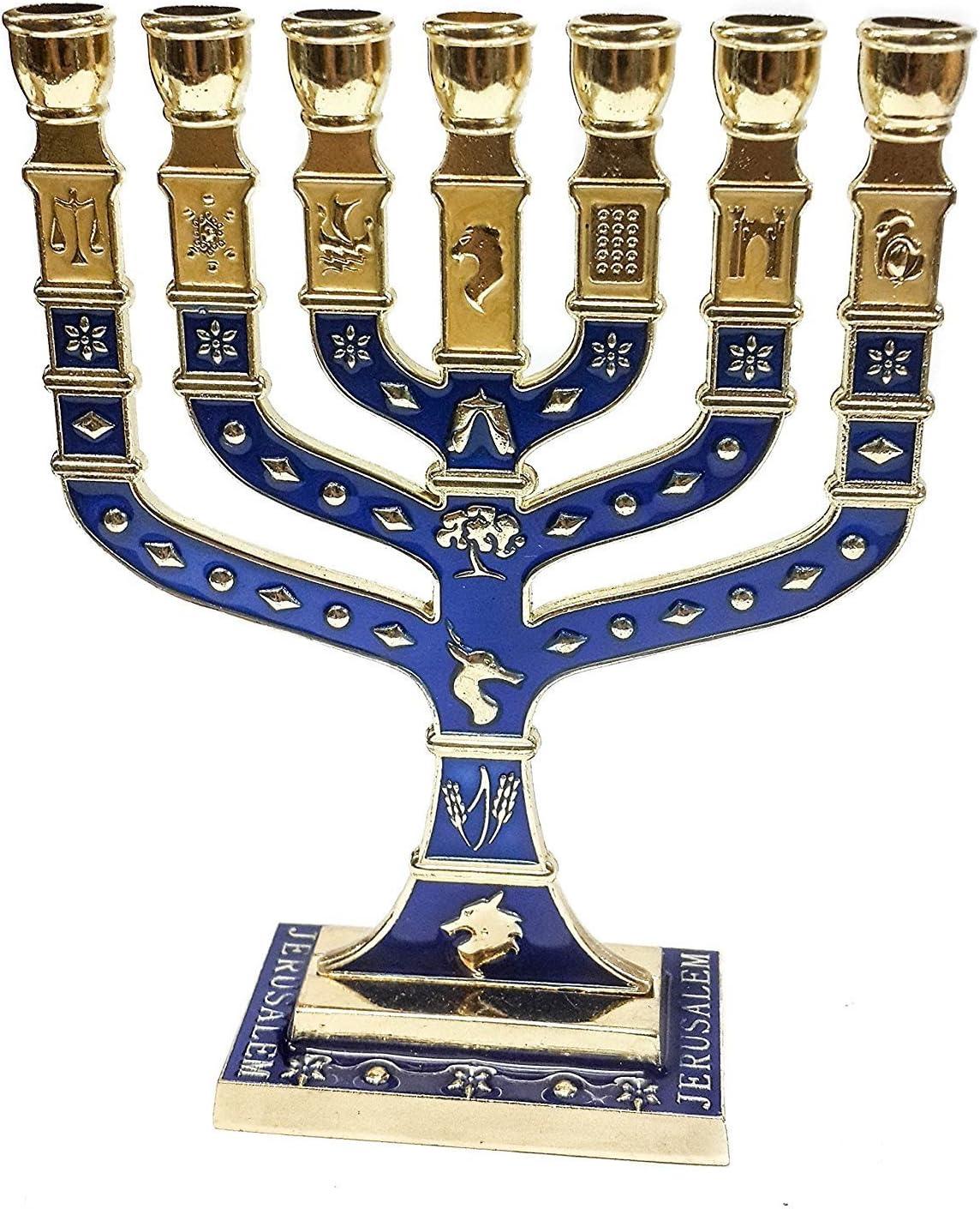 Golden Menorah 7 Branch 12 Tribes Of Israel Jerusalem Menora Blue Enamel 4.7