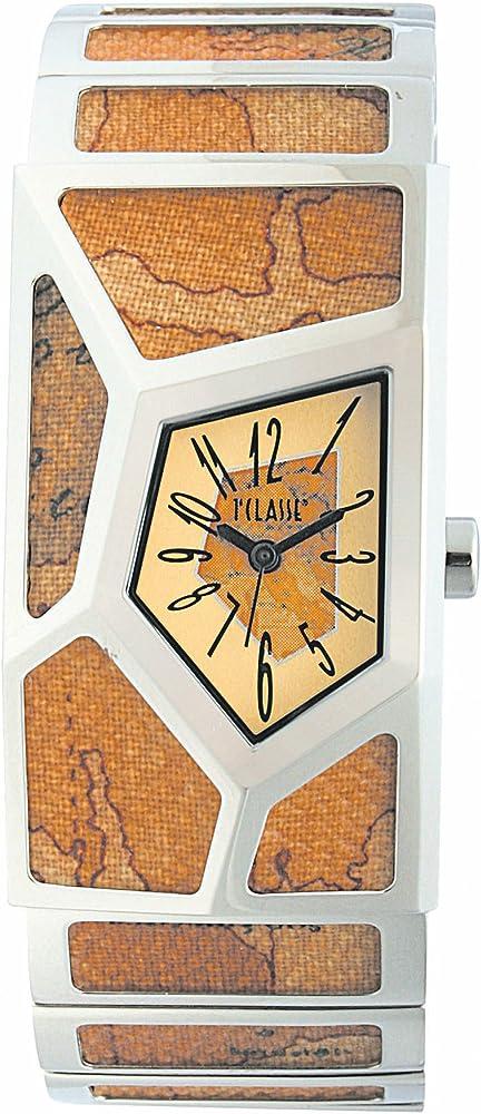 Alviero martini, orologio per donna, in acciaio con ritagli di tela geo-design PCD 762/VM_-