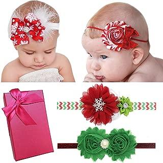 Elesa Miracle Baby Girl Nylon Headbands and Bows Gift Box Set for Newborn Infant Toddler Kids