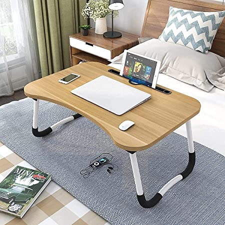 Generic LTT-0013 Multipurpose Laptop Table with Dock Stand & Non-Slip Legs Foldable and Portable Lapdesk for Study & Bed (Random Colour)
