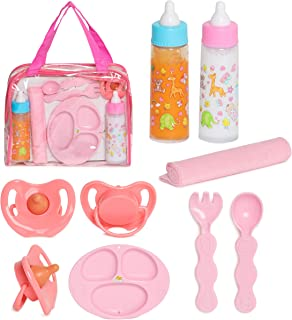 FASH N KOLOR Baby Doll Feeding Set with Doll Magic Bottles in a Baby Bag Set- 8 Piece Baby Doll Feeding Set with Baby Doll...