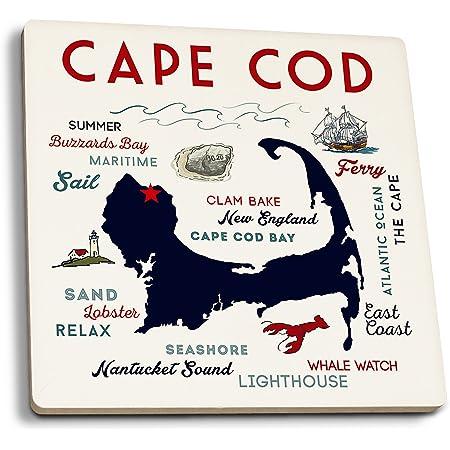 State Coaster Coastal Massachusetts Reusable Coasters Coasters Wanderlust Travel Party Tabletop Cape Cod Coaster Set Island State