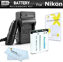 Battery And Charger Kit For Nikon Coolpix S3700, S2800, S2900, S33, S7000, S6900, S100, S5200, S6500, W100, A300 Digital Camera Includes Replacement (1000Mah) EN-EL19 Battery + Ac/Dc Charger + More