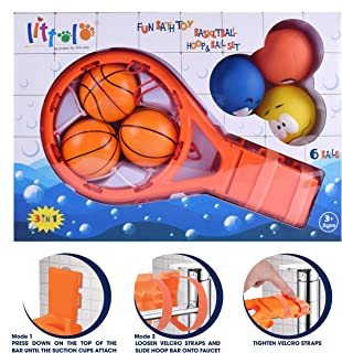 Bath Toy Basketball Hoop & Balls PlaySet(3 in 1 Design) With 6 Balls Bath Toys,Gift Box & Mesh Bag,Bathtub Toy Gadget for Boys Girls,Kids,Child Gift,Strong Suction Cup&Magic Rope,Smile Balls, Fun Time
