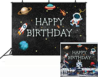 BINQOO Outer Space Rocket Astronaut Theme Backdrop Astrology Astronomy Planet Galaxy Photo Background Kids Childrens Boys Birthday Party Vinyl Decoration 5x3ft
