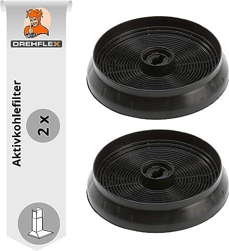 DREHFLEX - AK69-2 – Lot de 2 filtres à charbon actif pour hotte aspirante 145 mm – Compatible avec les hottes Refsta ...