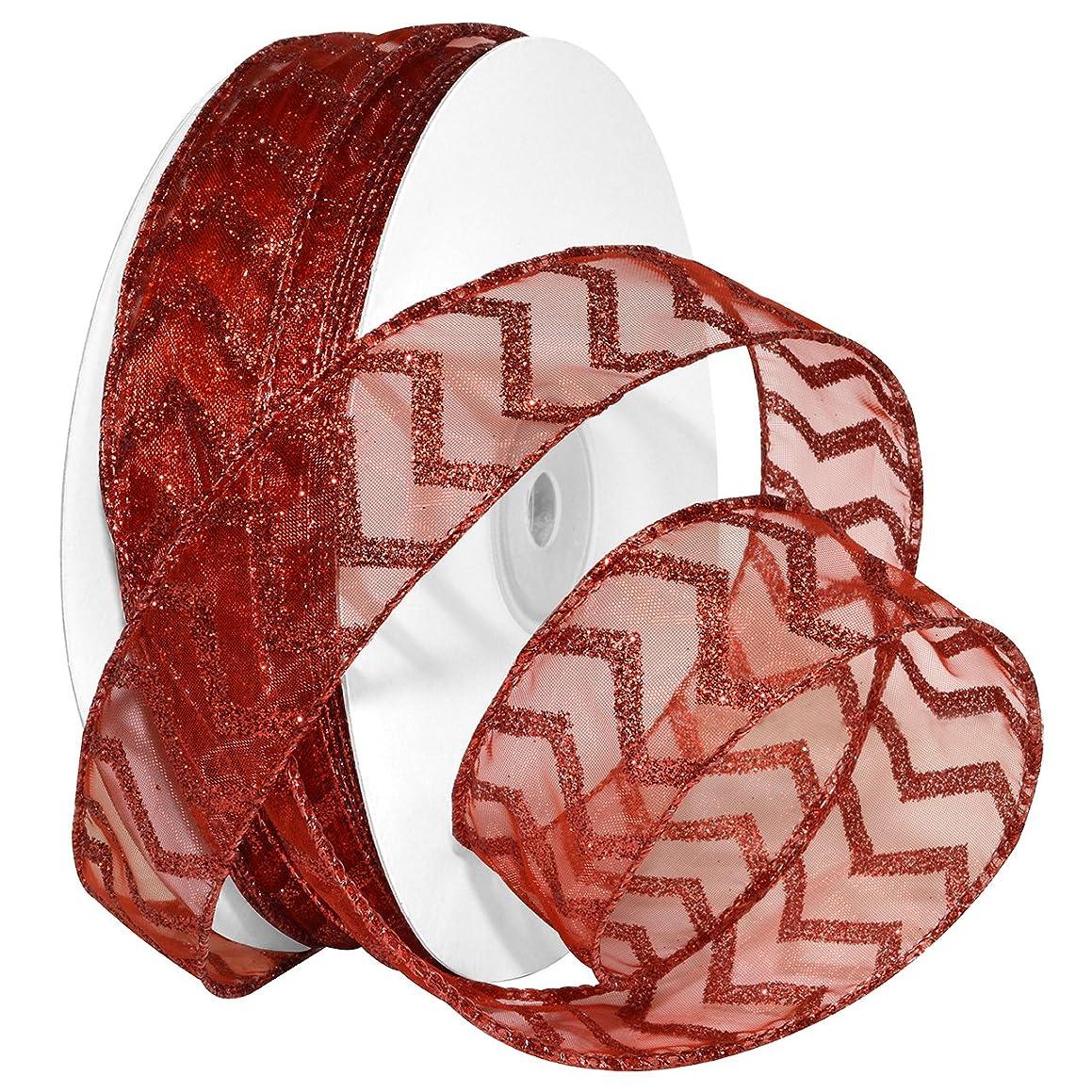 Morex Ribbon Wired Nylon Chevron Glitz Ribbon, 1-1/2