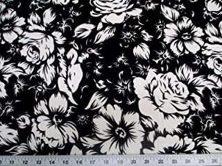 Discount Fabric Printed Jersey Knit ITY Stretch Black White Large Rose Floral G300