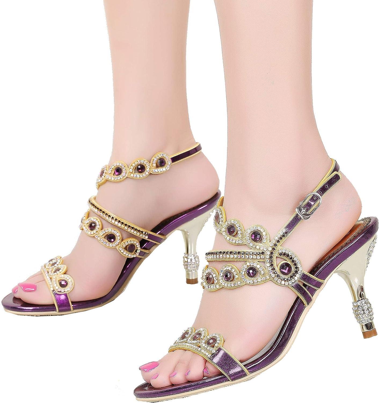 YooPrettyz Asymmetrical Evening Sandals Wedding Rhinestone shoes Slingback Mid Heels