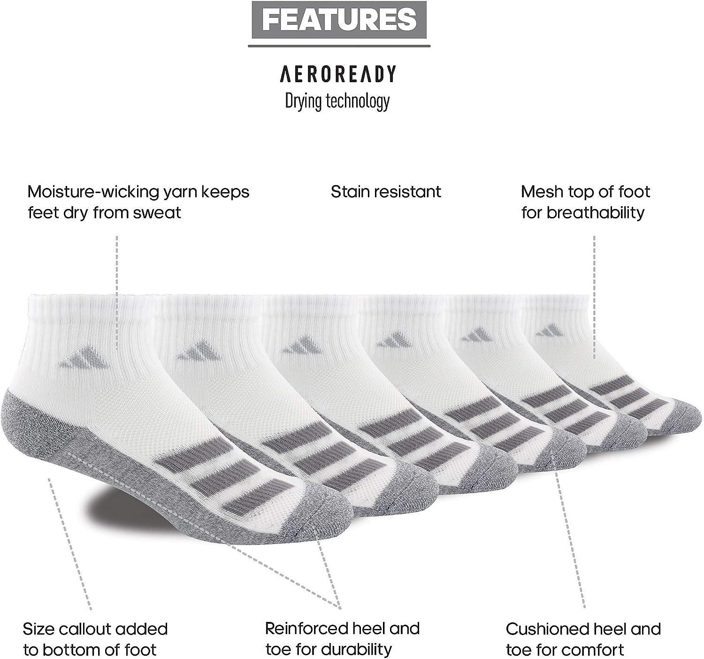 adidas Kid's-Boy's/Girl's Cushioned Angle Stripe Quarter Socks (6-pair)